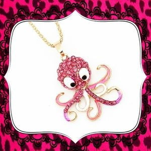 Betsey Johnson Crystal Enamel Octopus Necklace